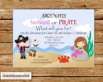 Pirate and Mermaid Party Invitation | Pink Mermaid and Red Pirate Invitation | Pirate and Mermaid Birthday Party | Pirate and Mermaid Party