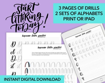 Brush Lettering Practice drills. 2 alphabets with these printable handlettering worksheets. Modern Brush Calligraphy. Print + iPad procreate