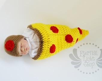 Newborn-12 Months Pizza Slice Crochet Cocoon & Hat Set