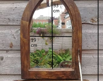 Gothic arched mirror & shelf in recycled pine with medium dark oak beeswax finish