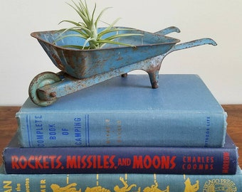 Vintage Pressed Steel Blue Toy Wheelbarrow / Made in the USA / Gardener Gift / Air Plant Stand / Farmhouse Style / Business Card Holder