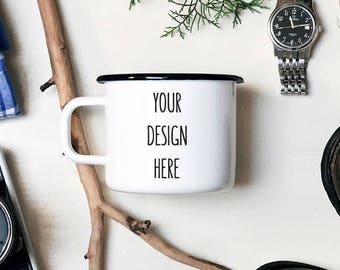 Custom Mug Enamel Mug Personalized Mug Camping Mug Wholesale Mugs Unique Gift White Mug Travel Mug Personalized Gift Camping Gift  Camp Mug