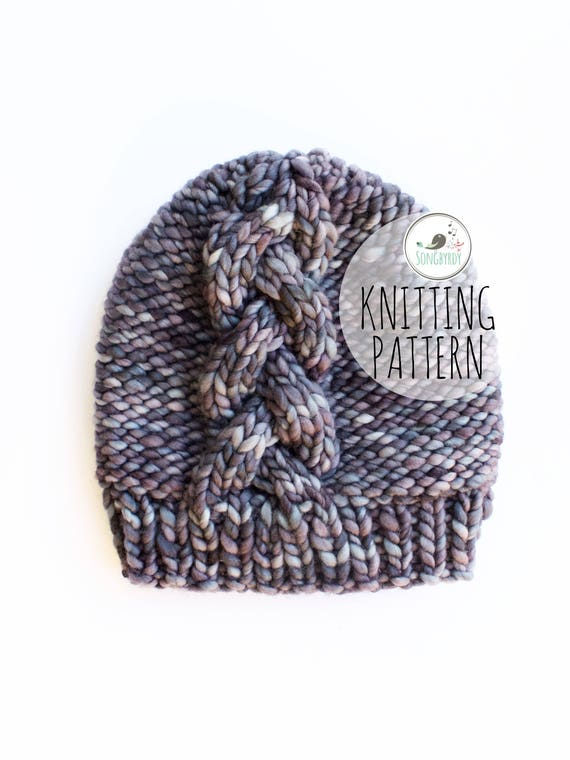 PDF PATTERN | Braided Cable Knit Slouchy Beanie | Knitting Pattern ...