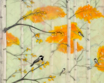 Print - Limited Edition - Fall Chickadees - encaustic mixed media