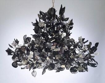 Royal Chandeliers Lighting with Black leaves and flowers, elegant black hanging Chandeliers.