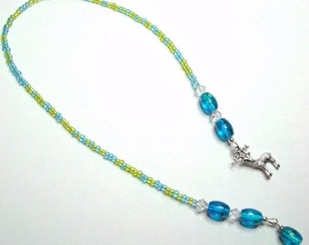 Blue Green Swarovski Deer Handmade Beaded BookMark
