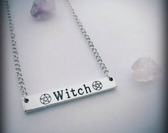 Witch Bar Necklace -  Pagan Wiccan Witch Occult Pendant Jewelry