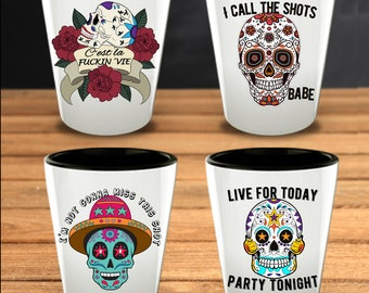 Day of the Dead - Sugar Skull Gift -Skull Shot Glasses - Set of 4 - Mexican Folk Art - Dia De Los Muertos - Halloween Gift - All Souls Day