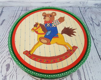 Vintage Collectable Cookie Bear tin From Denmark Limited Edition Series by Artist Poul Friis Reusable Tin Produced by Intergoods bakery LTD.