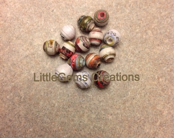 "25 x 1/4"" ( up - cycled) paper beads New Handmade"