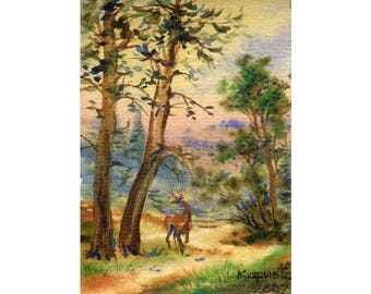 Landscape ACEO painting, watercolour painting, mountains, landscape forest, nature painting, original watercolour, miniature art, vertical