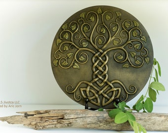 Yggdrasil: The World Tree. Cold-cast Relief Sculpture with antique BRASS finish. Norse Viking Mythology Tree of life
