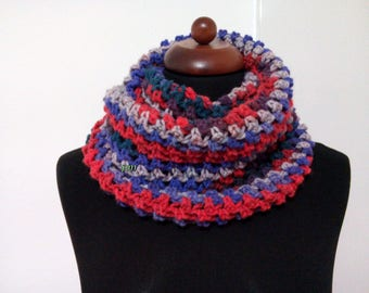 red blue gray crochet scarves, colorful neck warmer, crochet cap, infinity scarves, handmade crochet scarf, double neck handmade crochet