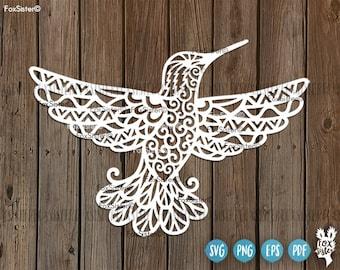 Hummingbird Svg cut file, Bird Svg, Hummingbirds Svg, Flying bird svg, Mandala Svg| Svg Papercut Template | Bird Silhouette | Cricut, Cameo