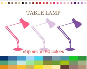 50 Colors Digital TABLE LAMP Clipart Lamp Clipart Lamp Digital Clip Art Lamp  Digital Graphic Design