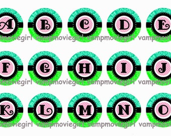 INSTANT DOWNLOAD...Aqua & Lime Damask Alphabet 1 Inch Circle Image Collage for Bottle Caps...Buy 3 get 1