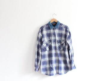 Plaid 90s Grunge Button Down Shirt