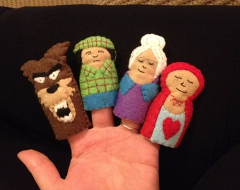 Set of Little red riding hood finger puppets
