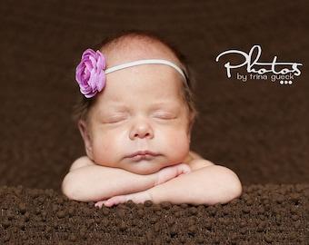 Baby Flower headband- Skinny silver grey elastic petite lavender purple flower-  Baby to Adult Sizes