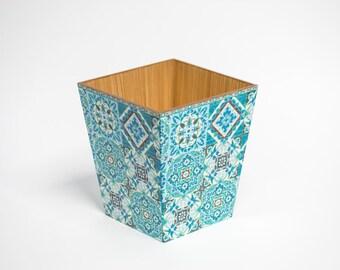 Blue Moroccan Tiles Waste Paper Bin / Basket Trash Can Handmade Wooden handmade in UK