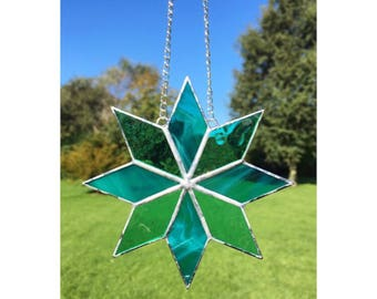 Stained glass star, turquoise blue/ green star suncatcher decoration