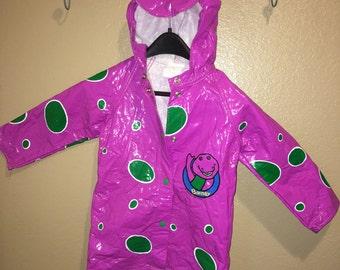 Vintage 1993 Barney The Purple Dinosaur Raincoat Kids Toddler Size 5