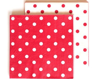 Napkins | Red & White Polka Dot Large Napkins | 20 Reversible Napkins | Premium Quality Paper Napkins | Party Supplies | The Party Darling