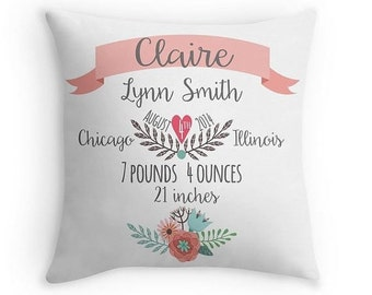 Personalized baby gifts etsy birth announcement pillow personalized baby pillow baby gift girl nursery decor pink negle Gallery