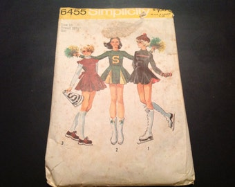 Vintage Simplicity #6455 Pattern for Misses Size 10 Cheerleader Uniform with Panties