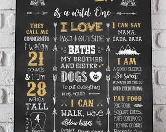 Wild One First Birthday Poster, Wild One 1st Birthday Chalkboard Sign, Tribal Chalkboard, Boho Birthday Party, Where The Wild Things Are JPG