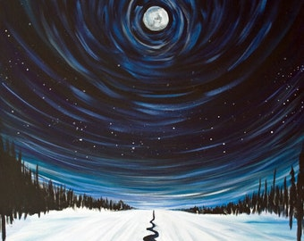 Snow, Moon and Stars, Surreal Landscape Painting  - Canvas Print