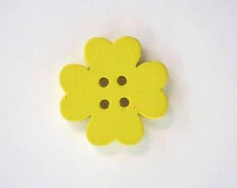 19mm x 10 flower wooden button: yellow - 001868