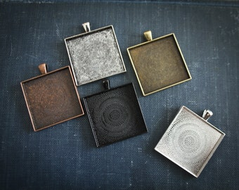 12 Square Pendant Setting blanks ( 35 mm inside ) Cabochon settings for glass, photos, mosaics or art. Extra Large