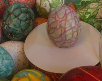 Home Decor Home Accents Vintage Ornaments Imajeanarium Bantam Egg Abstract Design in Purple & Blue