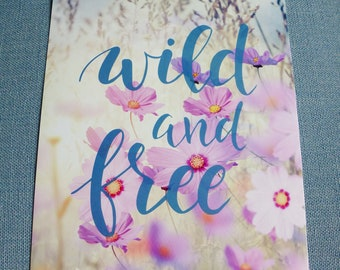 A4 wild and free color field flower print soft poster paper stock