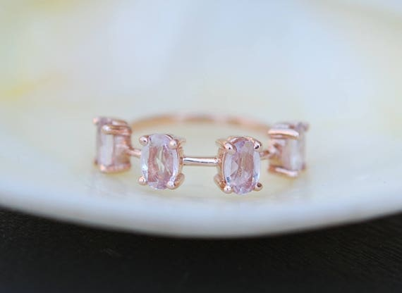 Peach saphire wedding band Rose Gold Wedding Band Oval Sapphire ring 14K Rose Gold Ring by EidelPrecious. Anniversary ring. Anniversary gift