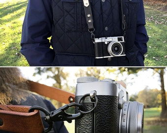Personalized Leather Camera Strap - DSLR / SLR - Custom Personalized Camera Strap - Easy Attachment and Easy Removal