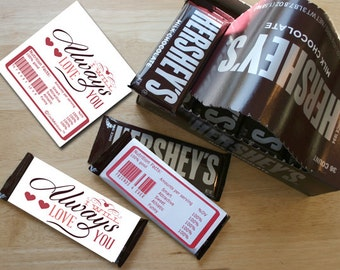 Hershey's Candybar Wrappers - I Will Always Love You -  INSTANT DOWNLOAD