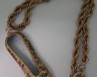 Cloisonne Enameled Shoe Slipper Gold Plated Vintage Necklace