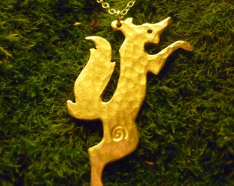 Standing Fox Pendant Jewellery SquareHare UK Vegan Free Shipping wildlife sterling silver countryside handmade jewellery wedding bride gift