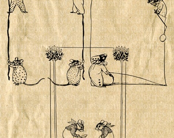 Vintage Border Mouse Clip Art 3 Borders Printable Instant Download Black and white