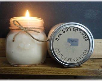 Citrus Sensation 8 oz Soy Candle, Soy Wax Candle, Citrus scent