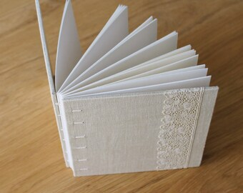 Small Coptic Bound Guest Book Journal with Light Sand Linen and Floral Vintage Lace