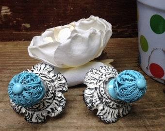 ON SALE, SPRING Sale Drawer Pulls / Drawer Knobs / White Satin Shabby Chic Knobs / Set of 2 knobs