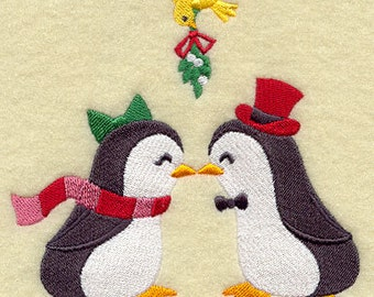 Blissful Penguins Embroidered Flour Sack Hand/Dish Towel