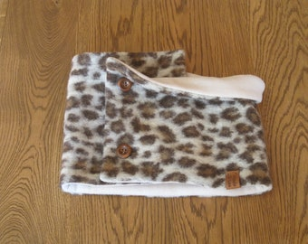 Leopard print neckwarmer, wool scarf for woman