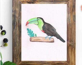 Toucan Print - Animal Nursery Print - Tropical Bird Print - Watercolor Bird - Digital Print - Colorful Bird Print - Wild Bird Art - Parrot