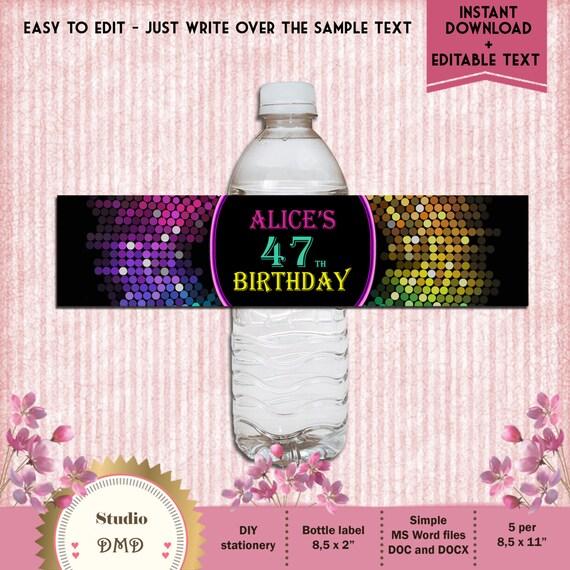 Printable Water Bottle Labels Neon Glitter Bottle Labels