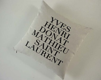 Yves Saint Laurent silk screened cotton canvas throw pillow 18 inch black