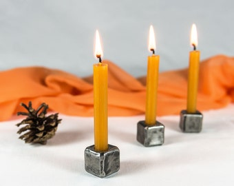 Wrought iron candle holders, hand-forged, set of 3 - small iron cube candlesticks, blacksmith made - wedding decor - table decoration.